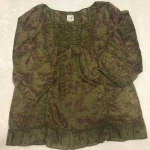 Anthropologie Edme & Essyllte Olive Green blouse